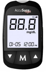 Accusure Simple Glucometer, 25 Test Strips