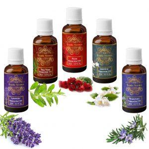 Exotic Aromas Lavender, Tea Tree, Rose, Jasmine & Rosemary Essential oil, Pure and Organic,