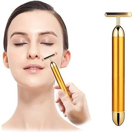 RAKITIC 1Pc 24K Gold Energy Beauty Bar Electric Vibration Facial Massage Roller