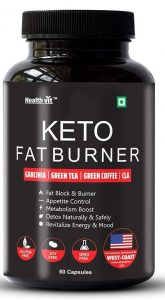 Healthvit Keto Fat Burner With Garcinia, Green Tea, Green Coffee, CLA