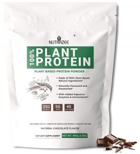 Nutrazee 100% Plant Based Protein Powder Blend, Natural Chocolate Flavour, Vegan Gluten Free