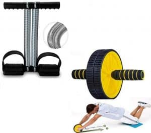 EVERYONIC Double Spring Tummy Trimmer and Double Wheel AB Roller Combo